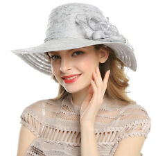 Women's Derby Church Cloche Flower Sun Hat Bucket Hats Bowler Brim Bridal Shower