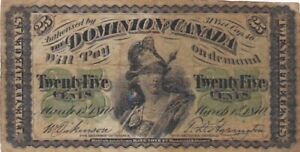 1870 Canada 25 Cents Fractional Note, Picik 8a