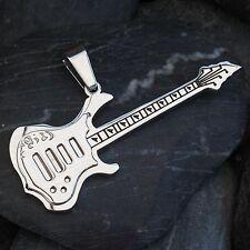 NEU massiv EDELSTAHL ANHÄNGER GITARRE farbe silber EDELSTAHLANHÄNGER Guitar