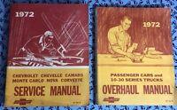 1972 CHEVROLET VINTAGE SERVICE + OVERHAUL MANUALS CORVETTE/10-30 TRUCKS OEM SET