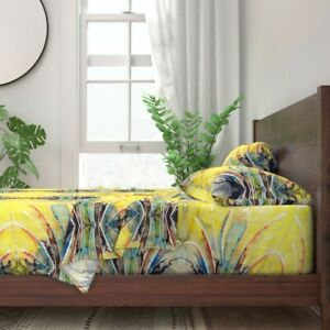 Watercolor Watercolors Yellow Abstract 100% Cotton Sateen Sheet Set by Roostery