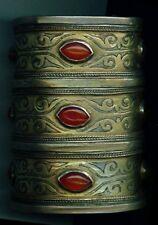 Single antique silver gilt Tekke Turkoman bracelet 3 5/8 inches with carnelian
