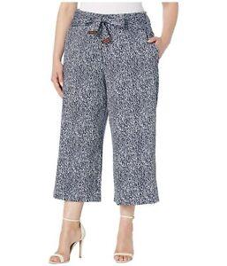 Michael Kors Womens Culottes Blue White Wide Leg Crop Pants Belted Plus 3X New
