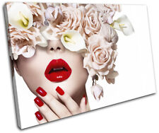 Fashion Female Girl Lips Flower Fashion SINGLE CANVAS WALL ART Picture Print