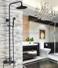 Black Oil Rubbed Brass Wall Mount Bathroom Rain & Hand Shower Faucet Set Yrs321