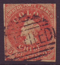 CHILE 1853 5c red imperf 3 margins with - 21093