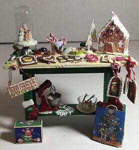 Dollhouse Miniature 1:12 Artisan Wood Christmas Baking Prep Table