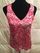 O'Neill Women's Top Pink White Animal Print Sleeveless Size Medium