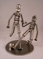 "Metal Soccer Players, Hand-Welded Recycled Metal, 4.75"" Tall, The Handcrafted,"