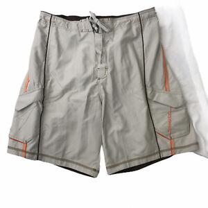 Speedo Men's Board Shorts Beige Orange Size XL Drawstring Volley Swim Trunks