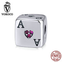 925 Sterling Silver Charms Bead Lucky dice Diy Pendants Fit Bracelet VOROCO Gift
