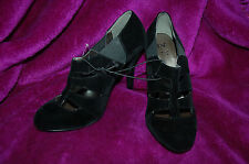 New 6 39 Black PROM Party Velvet feel Heels Shoe Cut away detailing Steampunk