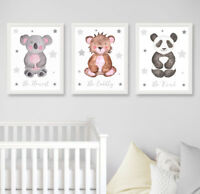 Safari Jungle Animals Grey Star Nursery Prints Set of 3 Baby Room Wall Art Decor