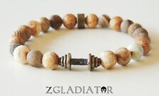 Beaded Gladiator Spartan Bronze Triple Dumbbells Fashion Bracelet for Men Women