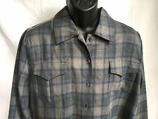 L.L. Bean Women's Large L/S 100% Wool Casual Shirt Blue Gray Plaid LL L EUC