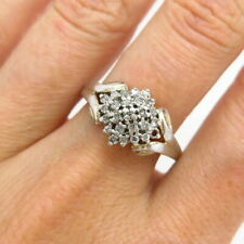 925 Sterling Silver Real Diamond Floral Design Ring Size 9 1/4