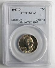 1947 D Silver Washington Quarter 25c US Silver Coin Certified PCGS MS66