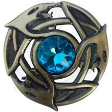 Scottish Fly Plaid Brooch Sky Blue Stone Antique Finish/Scottish Pin & Brooches