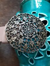 Gorgeous filigree brass buckle with embroidered belt