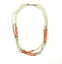 Vintage Natural ANGEL SKIN CORAL Pearl 14k Solid Gold Bead 3 Strand Necklace 17""