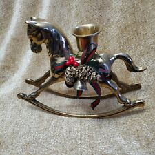 Christmas Holiday Brass Rocking Horse Candle Holder Decoration