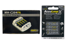 Powerex MH-C204FA Charger & 4 x AAA AccuPower AccuLoop-X NiMH Batteries 1100 mAh