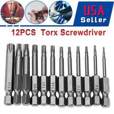 12 pcs 50mm 1/4 Inch Hex Shank T5-T40 Torx Head Screw Driver Bits Set Kit Tools