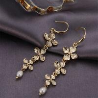 Freshwater Pearl Earrings 18k Plum Blossom Ear Drop Real Fashion Dangle Women