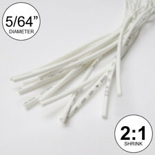 "5/64"" ID White Heat Shrink Tube 2:1 ratio wrap (14x9"" = 10 ft) inch/feet/to 2mm"
