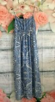 VALLEYGIRL Strappy Blue and White Print Maxi Dress Womens size 12