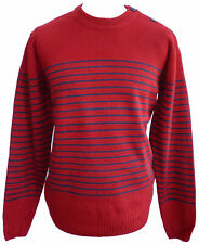 Relco Mens Striped Breton Jumper Red Naval Sailor Retro Mod Vintage ALL SIZES