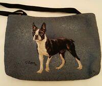 Boston Terrier Bull Dog Tapestry Lined Tote Shoulder Bag by Linda Picken