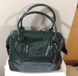 Longchamp Authentic Womens Green Patent Leather Satchel Handbag