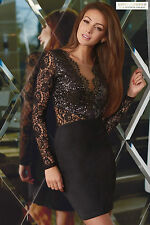 Lipsy V Neck Long Sleeve Short/Mini Dresses
