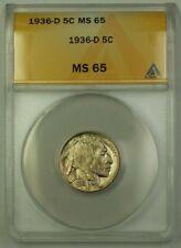 1936-D US Buffalo Nickel 5c Coin ANACS MS-65 Gem