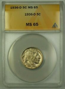 1936-D US Buffalo Nickel 5c Coin ANACS MS-65 Gem