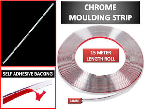 10mm x 15m Chrome Car Styling Trim Van Moulding Strip Trim Adhesive Protector