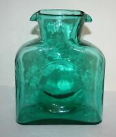 Vintage Blenko Double Spout Green / Teal Glass Pitcher Water Vase