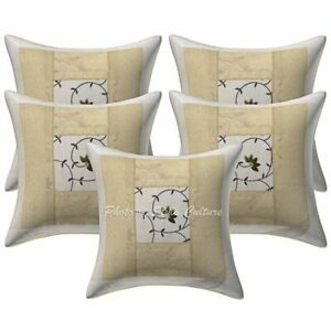Decorative Polydupion 16 Inch Brocade Patchwork Embroidered Throw Pillow Covers