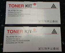 2 x Black Toner Cartridges For TK-340 Kyocera Mita FS-2020D FS-2020DN