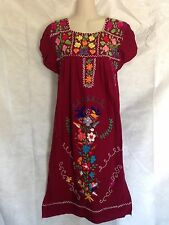 Vintage OAXACAN Mexican dress multicolor embroidery Maroon Wine S/M?