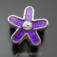 14pcs Antiqued Silver Alloy Purple Enamel Five-pointed Star Pendants Charms