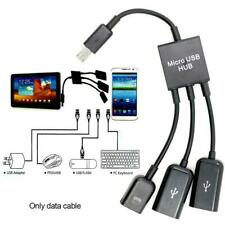3in1 Male to Female Micro USB 2.0 Power Charging Host OTG Hub Cable Adapter 20CM