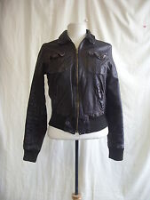 H&M Patternless Leather Casual Coats & Jackets for Women
