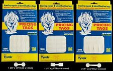 1000 Rhino Tyvek White Adhesive Dumbbell Jewelry Labeling Price Tags 3 Styles