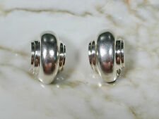 PAIR VINTAGE 1980'S BARRA STERLING SILVER CLIP ON EARRINGS SIGNED #2