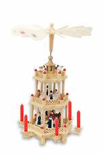Holz Weihnachtspyramide 3-stöckig 35 cm - Weihnachtsdeko Holz Pyramide Deko