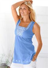 Damenshirt Blau Embroidery Design (Stickerei) Gr. 36
