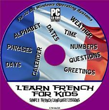 FRENCH FOR KIDS EASY CHILDRENS BASIC INTERACTIVE LANGUAGE LESSONS PC CD NEW