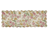 "Cottage Spring Madeline White Blush Pink Green QUILTED TABLE RUNNER 36"" Summer"